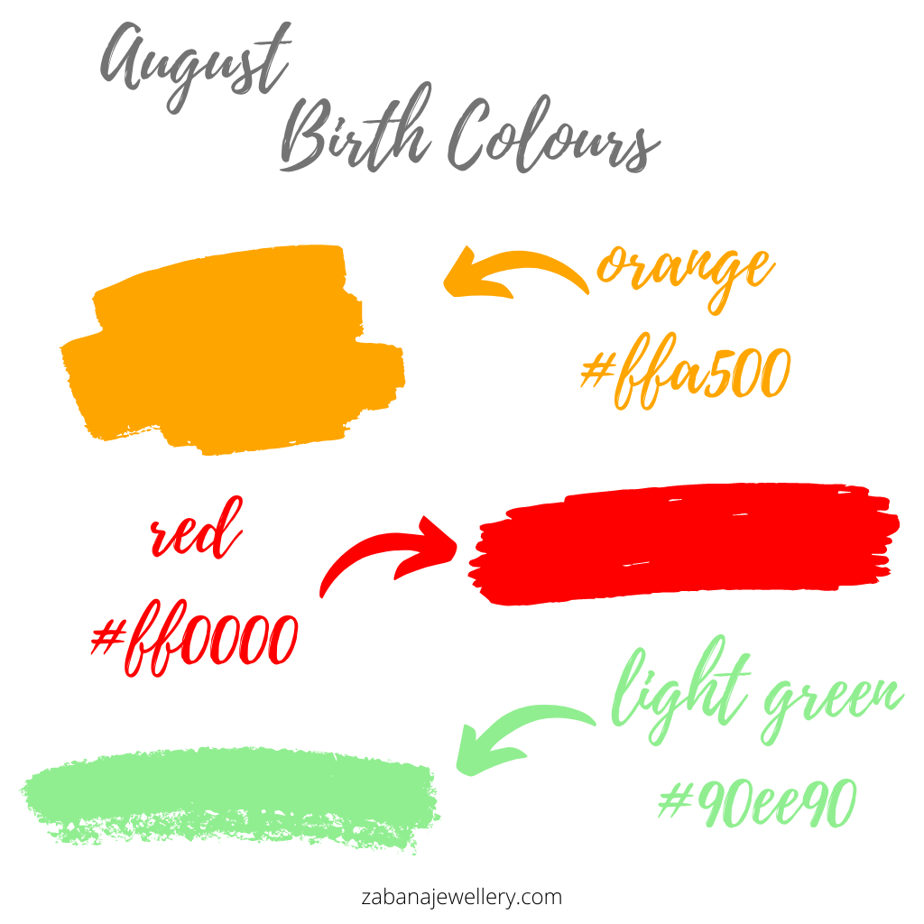 August birth colours orange, red and light green