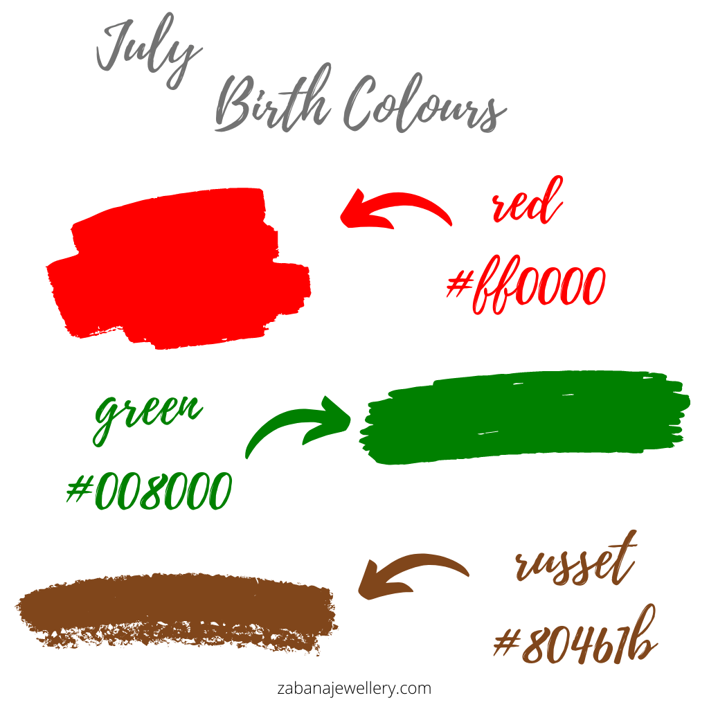 July birth colours red, green and russet