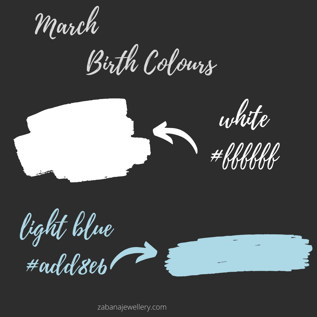 March birth colours white and light blue