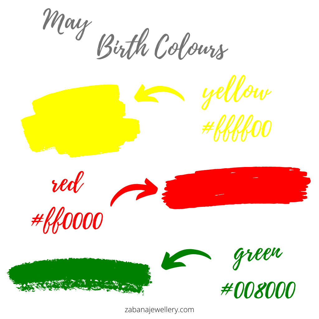 May birth colours yellow, red and green