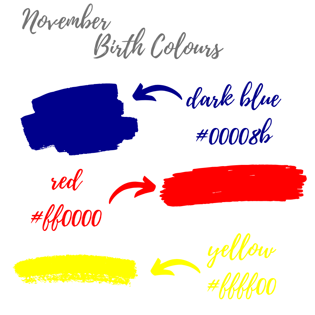 November birth colours dark blue, red and yellow