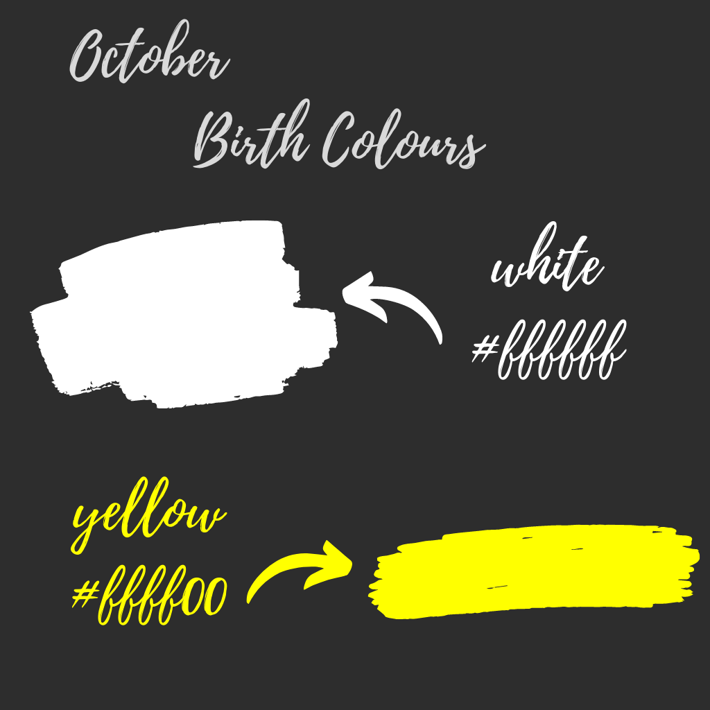 October birth colours white and yellow