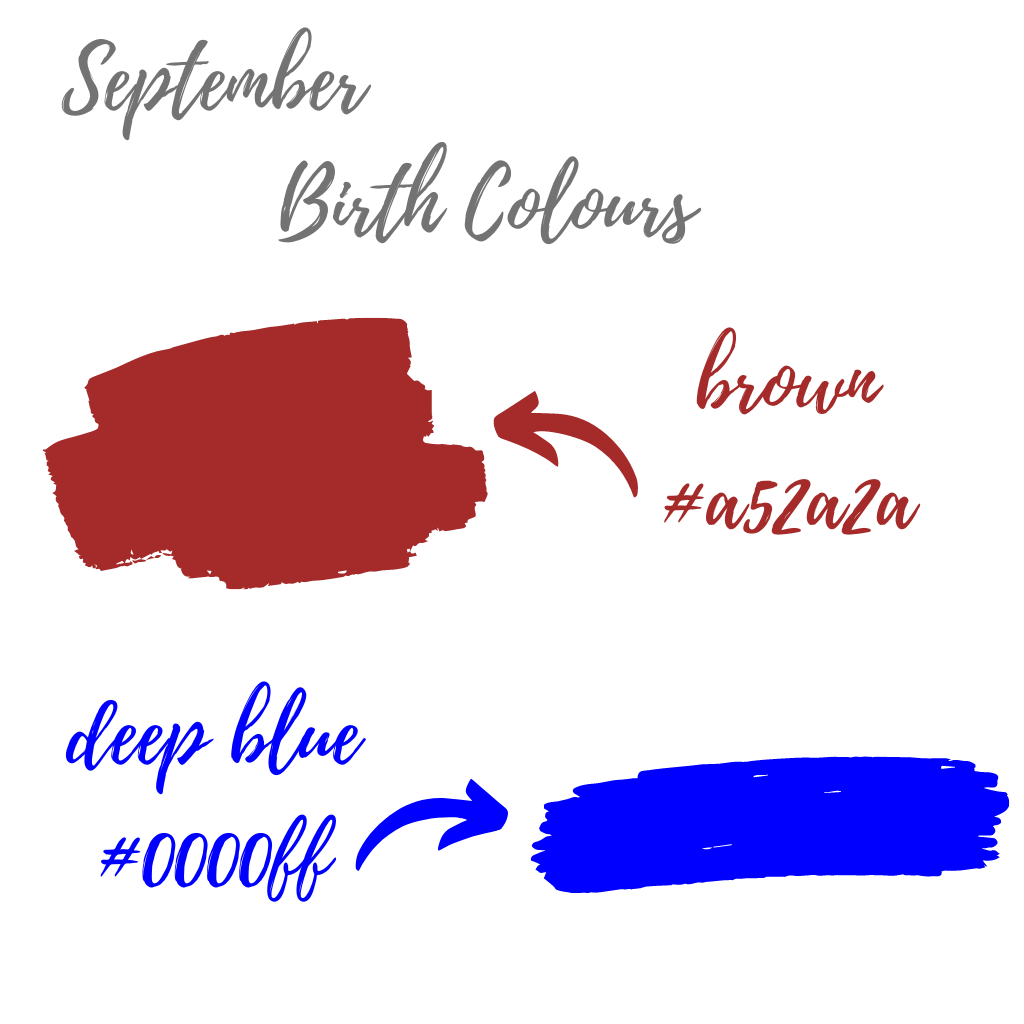 September birth colours brown and deep blue